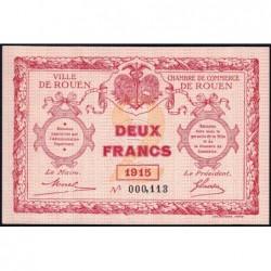 Rouen - Pirot 110-13 - 2 francs - Petit numéro 000,113 - 1915 - Etat : NEUF
