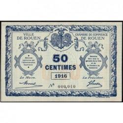 Rouen - Pirot 110-18 - 50 centimes - Petit numéro 000,010 - 1916 - Etat : SPL