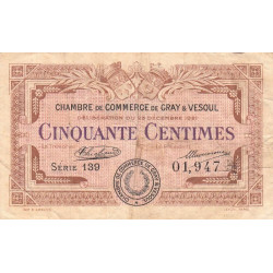 Gray / Vesoul - Pirot 62-19 - 50 centimes - 1921 - Etat : TB