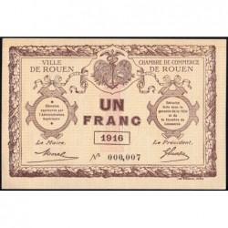 Rouen - Pirot 110-21 - 1 franc - Petit numéro 000,007 - 1916 - Etat : NEUF