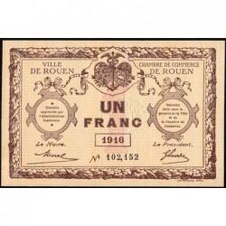 Rouen - Pirot 110-21 - 1 franc - 1916 - Etat : SPL