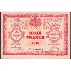 Rouen - Pirot 110-25 - 2 francs - Petit numéro 000,007 - 1916 - Etat : pr.NEUF