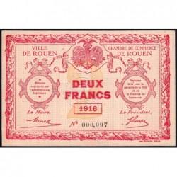 Rouen - Pirot 110-25 - 2 francs - 1916 - Petit numéro - Etat : SPL