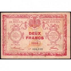 Rouen - Pirot 110-25 - 2 francs - 1916 - Etat : TB-