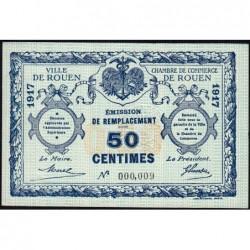 Rouen - Pirot 110-28 - 50 centimes - Petit numéro 000,009 - 1917 - Etat : SPL