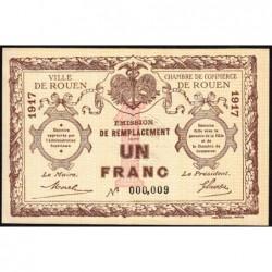 Rouen - Pirot 110-30 - 1 franc - Petit numéro 000,009 - 1917 - Etat : SPL