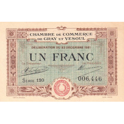 Gray / Vesoul - Pirot 62-21 - 1 franc - 1921 - Etat : SPL