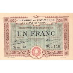 Gray / Vesoul - Pirot 62-21 - 1 franc - Série 120 - 1921 - Etat : SPL