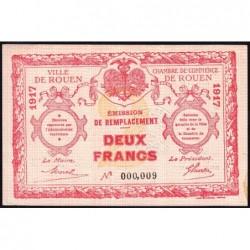 Rouen - Pirot 110-32 - 2 francs - Petit numéro 000,009 - 1917 - Etat : SPL