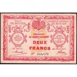 Rouen - Pirot 110-32 - 2 francs - 1917 - Etat : TTB
