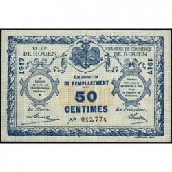 Rouen - Pirot 110-34 - 50 centimes - 1917 - Signature tronquée - Etat : TTB