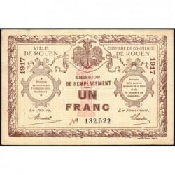 Rouen - Pirot 110-35 - 1 franc - 1917 - Signature tronquée - Etat : TTB+