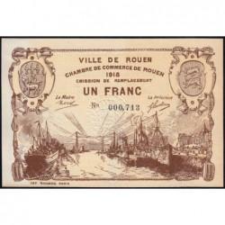 Rouen - Pirot 110-39a - 1 franc - 1918 - Etat : SPL