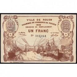 Rouen - Pirot 110-39b - 1 franc - 1918 - Etat : SPL