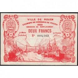 Rouen - Pirot 110-52 - 2 francs - Petit numéro 000,163 - 1920 - Etat : SUP+