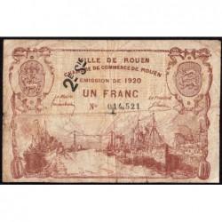 Rouen - Pirot 110-55 - 1 franc - 2ème série - 1920 - Etat : B+