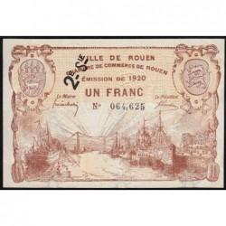 Rouen - Pirot 110-55 - 1 franc - 2ème série - 1920 - Etat : SUP+