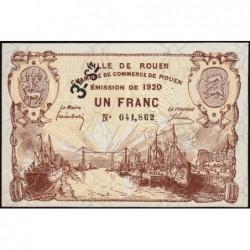 Rouen - Pirot 110-62 - 1 franc - 3ème série - 1920 - Etat : SPL