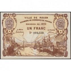 Rouen - Pirot 110-65 - 1 franc - 1922 - Etat : SUP+