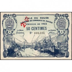 Rouen - Pirot 110-67 - 50 centimes - 2ème série - 1922 - Etat : SPL