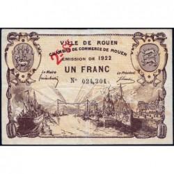 Rouen - Pirot 110-68 variété - 2ème série - 1 franc - 1922 - Etat : TB+