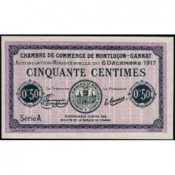 Montluçon-Gannat - Pirot non répertorié - Série A - 50 centimes - Spécimen - 1917 - Etat : NEUF