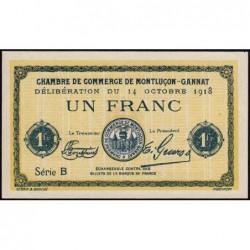 Montluçon-Gannat - Pirot non répertorié - 1 franc - Série B - 1918 - Spécimen - Etat : SPL+