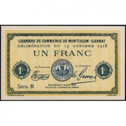 Montluçon-Gannat - Pirot non répertorié - Série B - 1 franc - Spécimen - 1918 - Etat : NSPL+EUF