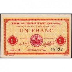 Montluçon-Gannat - Pirot non répertorié - 1 franc - Série A - 1921 - Billet uniface - Etat : pr.NEUF
