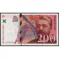 F 75-02 - 1996 - 200 francs - Eiffel - Série Q - Etat : TTB-
