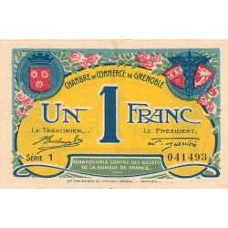 Grenoble - Pirot 63-20a - 1 franc - Série 1 - 08/11/1917 - Etat : SUP