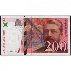 F 75-02 - 1996 - 200 francs - Eiffel - Série K - Etat : TTB+