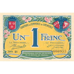 Grenoble - Pirot 63-20b - 1 franc - Série 51 - 08/11/1917 - Etat : SPL