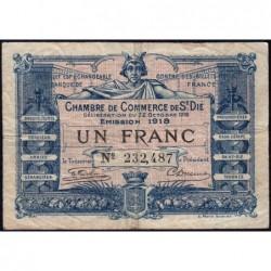 Saint-Dié - Pirot 112-13 - 1 franc - 22/10/1918 - Etat : TB