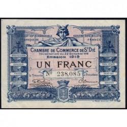 Saint-Dié - Pirot 112-13 - 1 franc - 22/10/1918 - Etat : SUP
