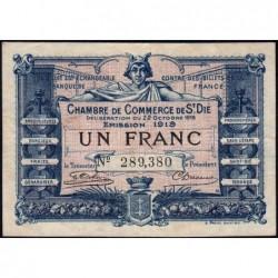 Saint-Dié - Pirot 112-13 - 1 franc - 22/10/1918 - Etat : TTB