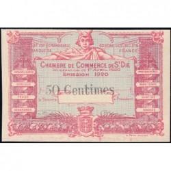 Saint-Dié - Pirot non répertorié - 50 centimes - 01/04/1920 - Epreuve type 1- Etat : SUP+