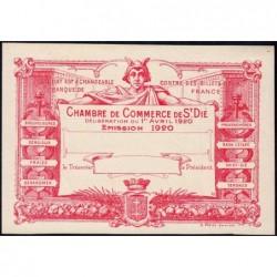 Saint-Dié - Pirot non répertorié - 50 centimes - 01/04/1920 - Epreuve type 5 - Etat : SUP+