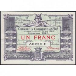 Saint-Dié - Pirot non répertorié - 1 franc - 01/04/1920 - Annulé - Etat : SPL