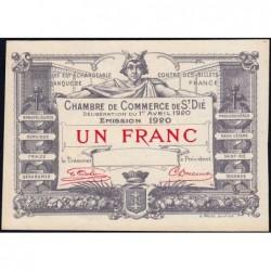Saint-Dié - Pirot non répertorié - 1 franc - Epreuve - 01/04/1920 - Etat : SPL