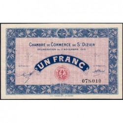 Saint-Dizier - Pirot 113-6 - 1 franc - 11/11/1915 - Etat : SUP+