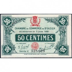 Saint-Dizier - Pirot 113-21 - Série C - 50 centimes - 07/06/1921 - Etat : SUP+