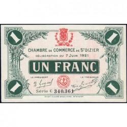 Saint-Dizier - Pirot 113-22 - 1 franc - Série C - 07/06/1921 - Etat : SPL