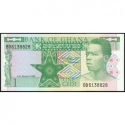 Ghana - Pick 17b - 1 cedi - Série BD - 06/03/1982 - Etat : NEUF