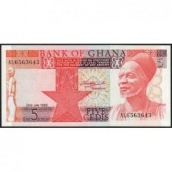 Ghana - Pick 19b - 5 cedis - Série AL - 02/01/1980 - Etat : NEUF
