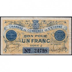 Saint-Etienne - Pirot 114-1 variété - 1 franc - Série J - 20/08/1914 - Etat : TTB