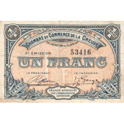 Gueret (Creuse) - Pirot 64-14 - 1 franc - Etat : TB