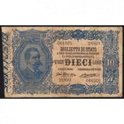 Italie - Pick 20f - 10 lire - 1915 - Etat : TB