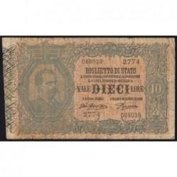 Italie - Pick 20g - 10 lire - 1917 - Etat : B+