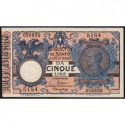 Italie - Pick 23d - 5 lire - 1922 - Etat : SPL+